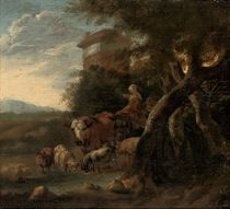 A wooded landscape with cattle watering and figures at rest, a town beyond