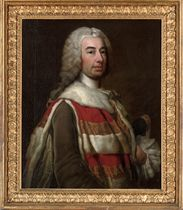 Portrait of Robert Knight, Baron Luxborough, later Earl of Catherlough (1702-1772), half-length, in Irish peer's robes, a tricorn under his left arm