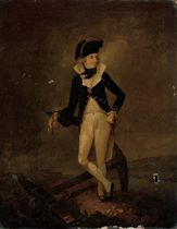 Portrait of a naval officer, full-length, in uniform, a telescope in his right hand