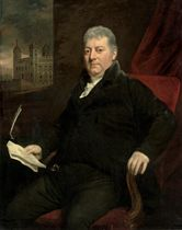 Portrait of Sir Daniel Williams, Colonel of the Tower Hamlets Militia, three-quarter-length, in a black suit, seated at a window, the Tower of London beyond