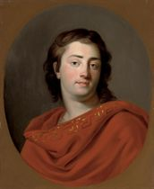 Portrait of a gentleman, bust-length, in a red robe, in a feigned oval