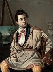 Portrait of an artist, three-q