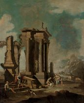 A coastal landscape with figures by classical ruins