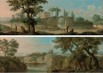 An extensive landscape with a hunter, drovers and other figures on a track by a gate leading to a villa; and A river landscape with anglers on a bank