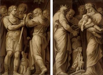 Two historical scenes, en brun