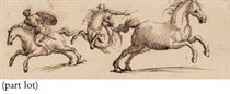 Three studies of rearing horses, two with riders