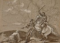 A mounted knight attacked by two Turkish soldiers