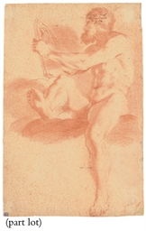 A seated male nude holding a b