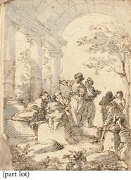 Figures conversing in a vaulte