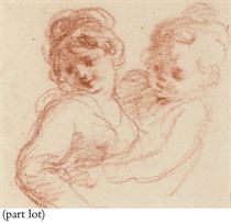 A group of four drawings, including A young woman with a child