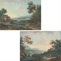 A walled town in a wooded river landscape, travellers in the foreground; and A wooded river landscape with cattle and a farmhouse