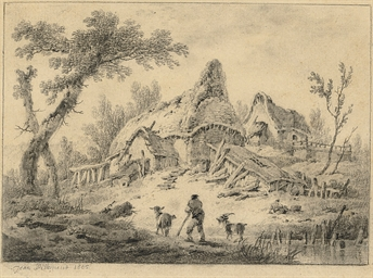 Landscape with a cottage, a go