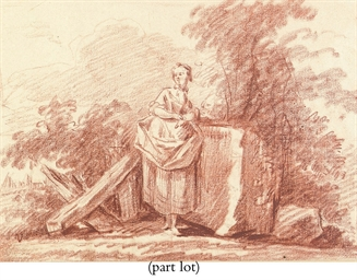 A young woman in a pastoral la