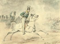 A cavalryman charging in the heat of battle