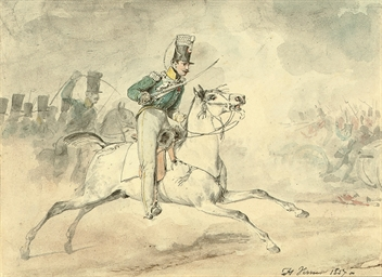 A cavalryman charging in the h