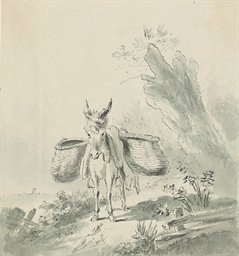 A country path with a donkey
