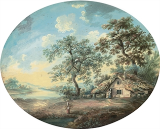 Two views of cottages in a woo