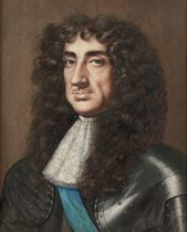 Portrait of King Charles II, bust-length, in lace steinkirk and wearing the sash of The Order of the Garter
