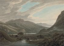 View of Ullswater with Place Fell to the right and the bridge over Goldrill Beck in the foreground, Lake District