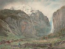 Lauterbrunnen Valley with Staubbach Falls and The Jungfrau, Switzerland