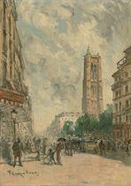 Rue de Rivoli et la tour de St. Jacques, Paris