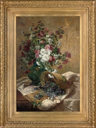 Chrysanthemums in a vase by a