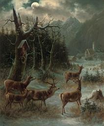 Deer before an Alpine village