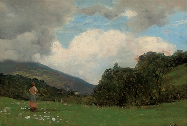 A shepherdess in a meadow