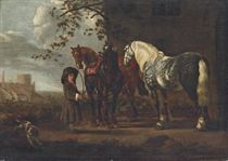 A landscape with three horses being held by a young boy