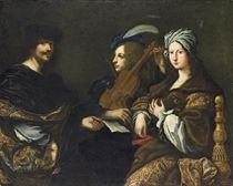 Portrait of the artist, half-length, holding a sheet of music, with a violinist and a lady holding a lap dog