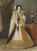 Portrait of a lady, full-length, in a richly gold-embroidered white dress and mantle, with a jewelled ring and chains of gold and pearls, and a black lace shawl, holding a feather fan, by a table with a vase of roses, tulips and other flowers, a draped curtain beyond
