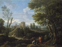 An extensive classical landscape with shepherds in the foreground and a fortified town beyond
