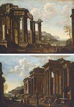 A capriccio of classical ruins near the coast, with figures; and A capriccio with figures amongst classical ruins