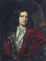 Portrait of a gentleman, half-length, in a white shirt with a lace collar, a gold-embroidered silk doublet, and a red velvet mantle, in a feigned oval