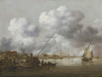 An estuary with a small ship b