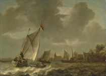 Coastal landscape with sailing boats in choppy seas