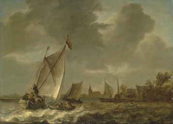 Coastal landscape with sailing