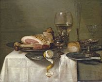 A ham on a pewter plate, a partly-peeled lemon, a roemer, a glass flute, a wine glass, a bowl of olives, a silver-gilt tazza, a bread roll, a knife on a pewter plate and a mustard pot on a partly-draped table