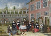 Portrait of a family around a table served with lobster, a pie, bread and flowering spring onions, in a courtyard with a fountain and a sculpture garden, an orchard beyond
