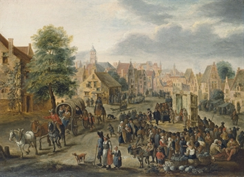 A village market with a wagon,