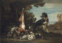A hare, ducks, other fowl and a brace of hounds, in a forest landscape, a mountain range beyond