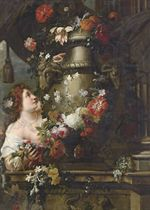 A lady adorning a sculpted urn with roses, lilies and other flowers, with a draped column and grapes on a stone ledge