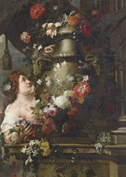 A lady adorning a sculpted urn
