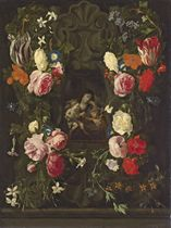 The Virgin and Child with the Infant Saint John the Baptist, in a sculpted cartouche, surrounded by a garland of roses, tulips, carnations and other flowers