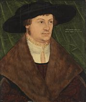 Portrait of a gentleman, bust-length, in a black hat, a white shirt with a gold-trimmed lace collar and a fur-lined mantle, a draped green curtain behind