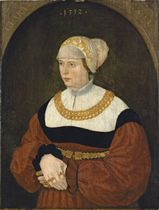 Portrait of Clara Burckhardt, half-length, in a gold-embroidered white bonnet and a red dress with a lace collar, and a gold belt and necklace, in a sculpted niche