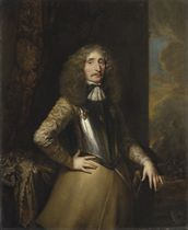Portrait of a field marshal, three-quarter-length, in a cuirass, a marshal's baton on the table beside him, a battle beyond