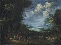 An extensive, wooded river landscape, with David and Abigail