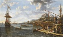 A Mediterranean harbour with Turks and Orientals bringing goods ashore, three galleys and a man-o'-war at anchor