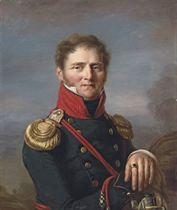 Portrait of Nicolas-Frédéric Freudenreich (1776-1858), half-length, in an officer's uniform, leaning on a cannon, a battle beyond